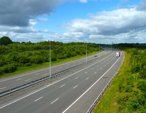 M6 Toll Road - North View  -  Small amount of vehicles using the road.