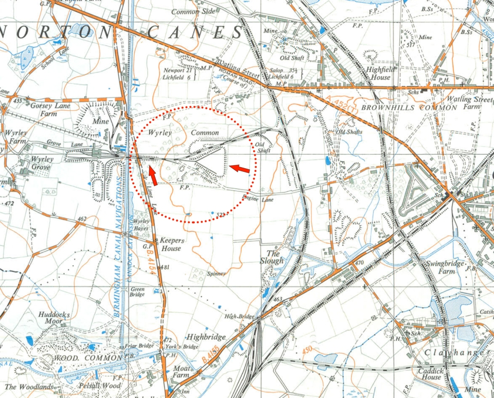 Brownhills colliery lines as shown on Ordnance Survey 1:25,000 sheet SK00 from 1948. The red dotted circled area and arrows are the location of my exploration and where some of the photo's were captured. Map is courtesy of Brownhills Bob's Brownhills Blog.