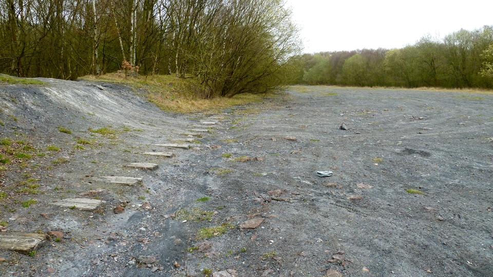 Widescreen view of the old line near to Lime Lane.